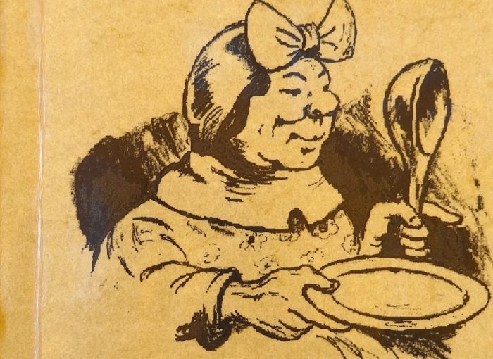 Die Oma als Bild auf der Speisekarte mit Kelle und Teller